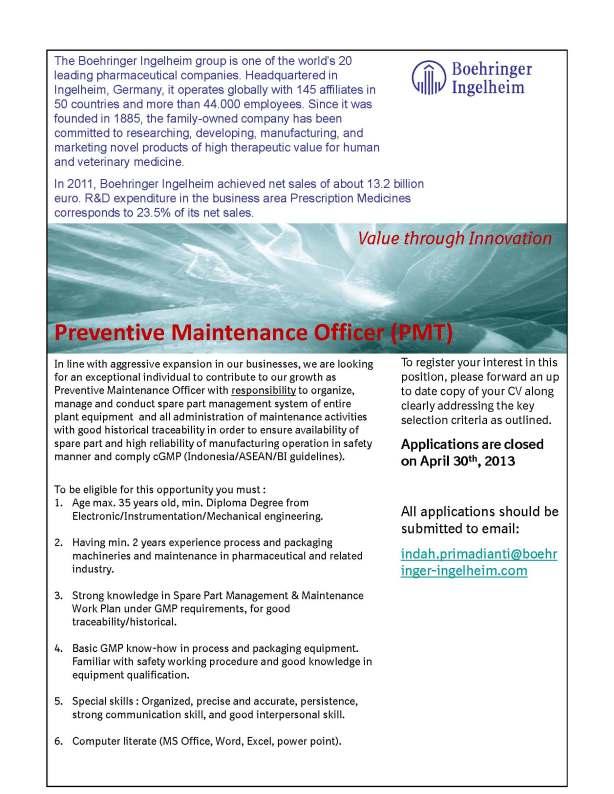 Preventive Maintenance Officer